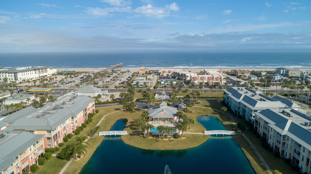 Aerial view of the beach from the condo complex