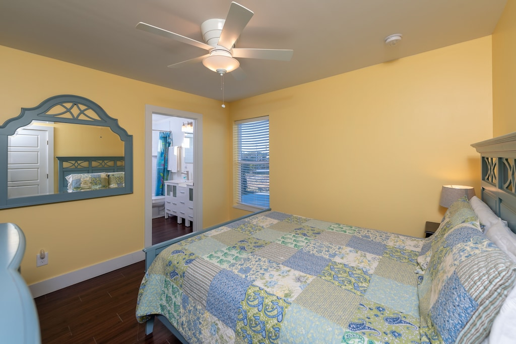 guest bedroom with shared bathroom