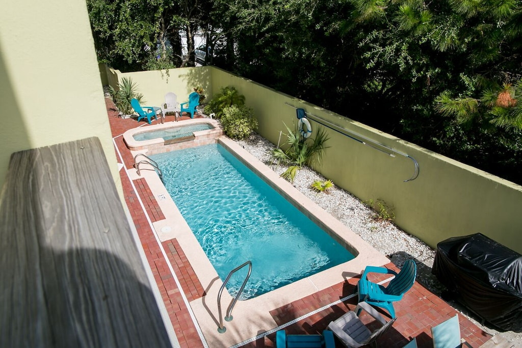 Private gated pool with hottub