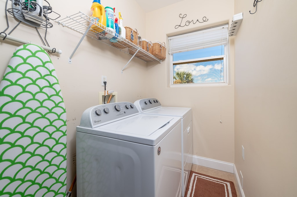 Laundry room and we provide laundry soap