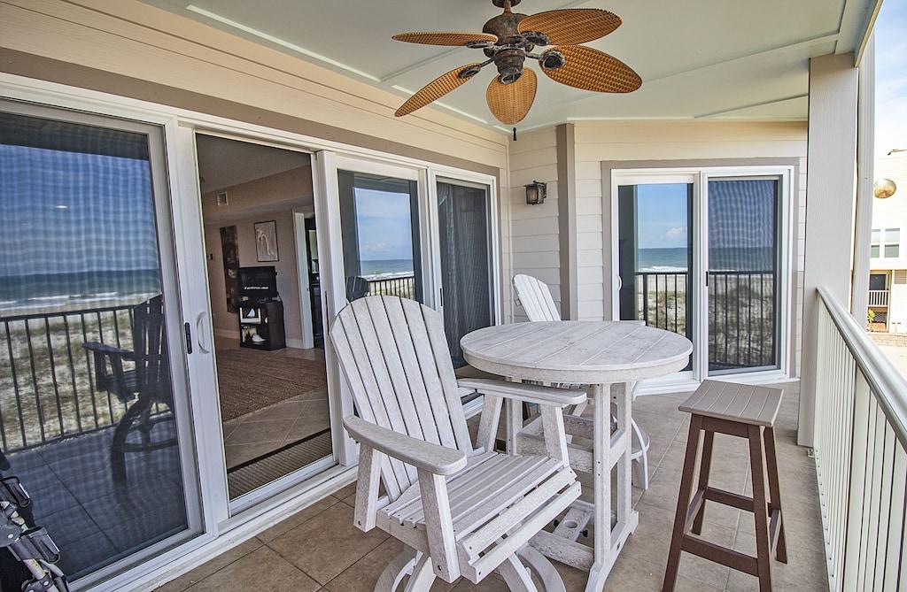Outdoor seating overlooking the dunes and ocean