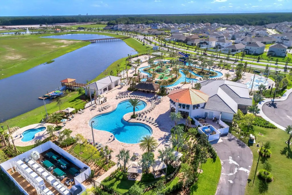 Aerial view of Huge and crystal clear community pool