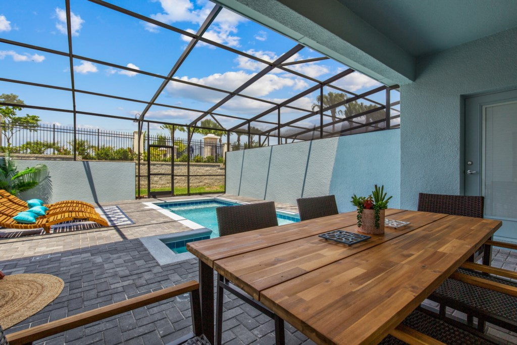 View 5 of Luxurious Private Pool and Spa with Loungers and Patio Seating