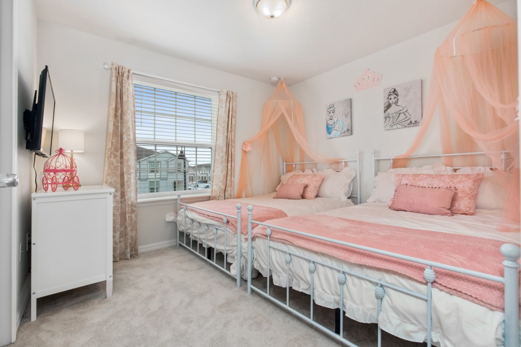 Adorable 2 x Full Bed Bedroom Princess Themed Bedroom
