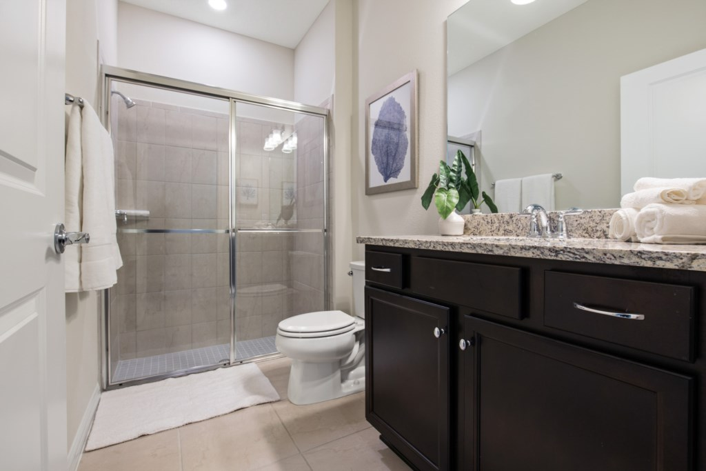 Contemporary Bathroom with Toilet and Shower