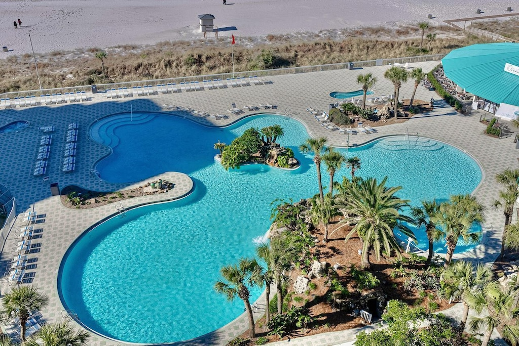 Arial photo of the lagoon pool
