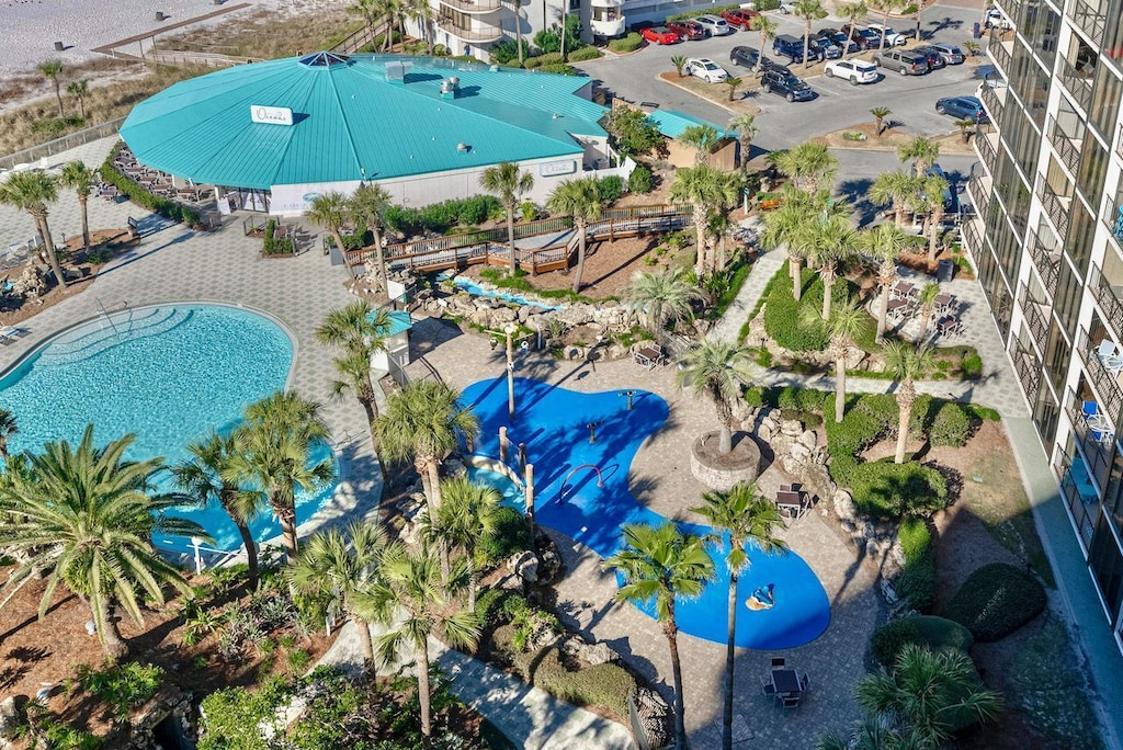 Arial Pic of the splash pad - for our tiny guests