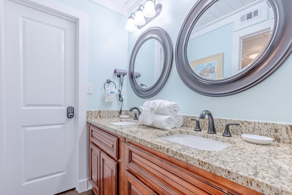 Private bath off Bedroom 3 - offers double sinks, large vanity & shower