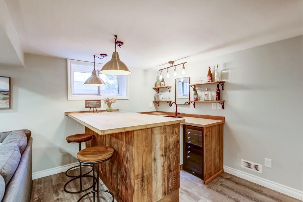 Bar in the basement with wine fridge (BYOB) - Blue Pearl - Niagara Holiday Rentals - Niagara-on-the-