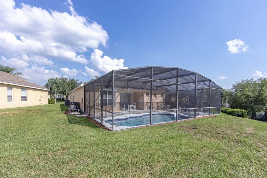Large wide lot with screened in pool
