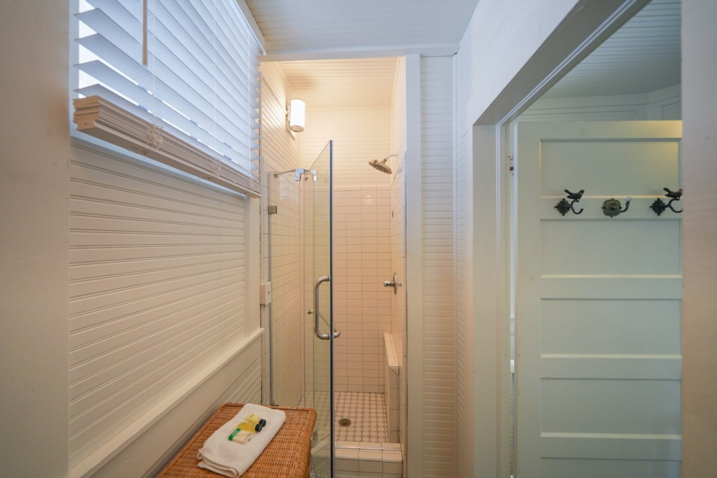 The guest bath features a standalone shower