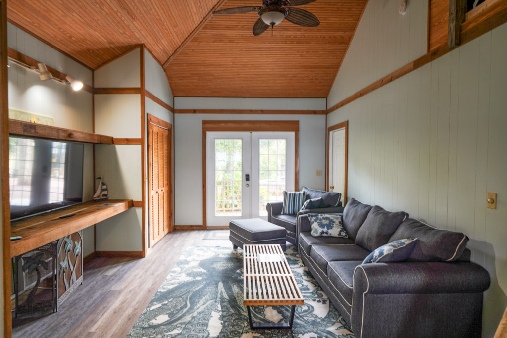 Living area with comfortable seating and flat screen television
