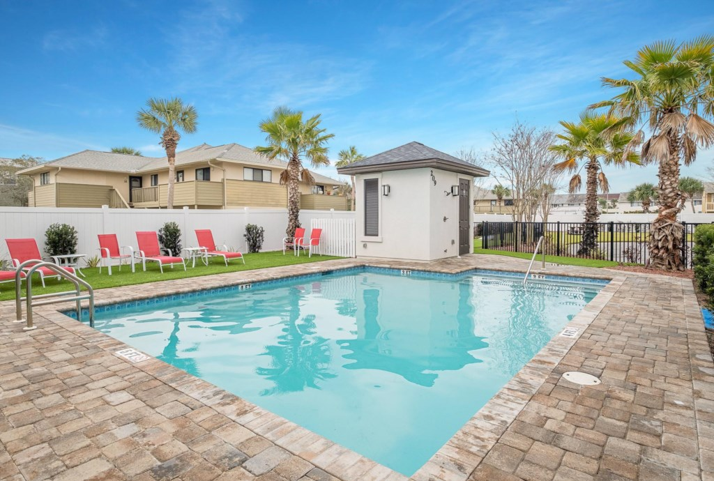 Relax at the community pool that is heated in cooler months.