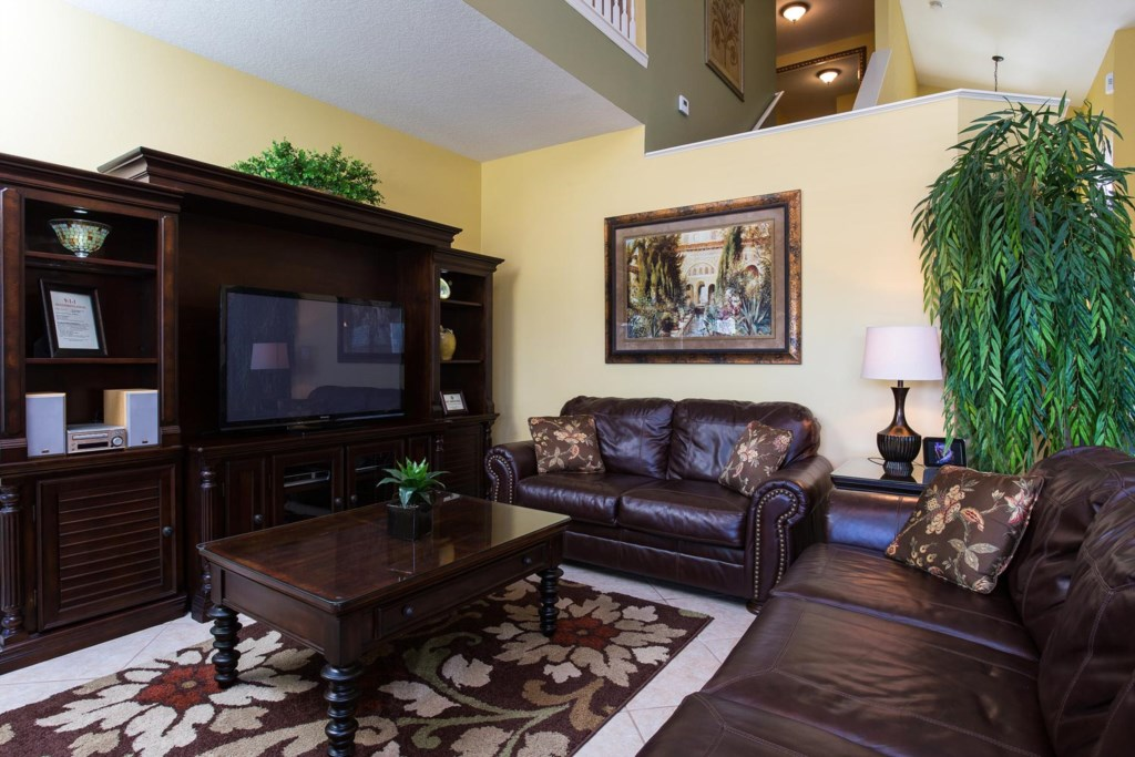 Living area with 46-inch TV
