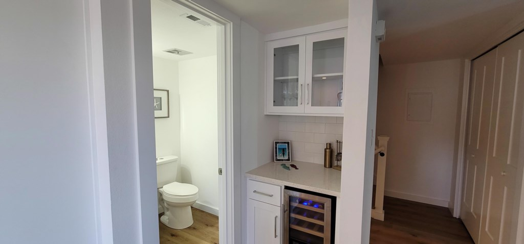 Bar area with wine fridge