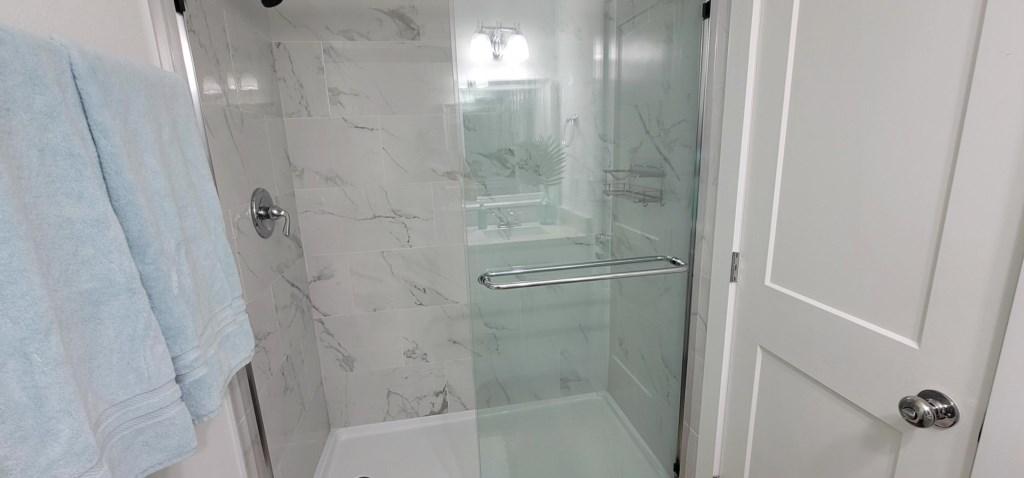 Oversized shower in second bathroom