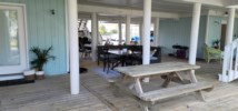Covered seating area and picnic table