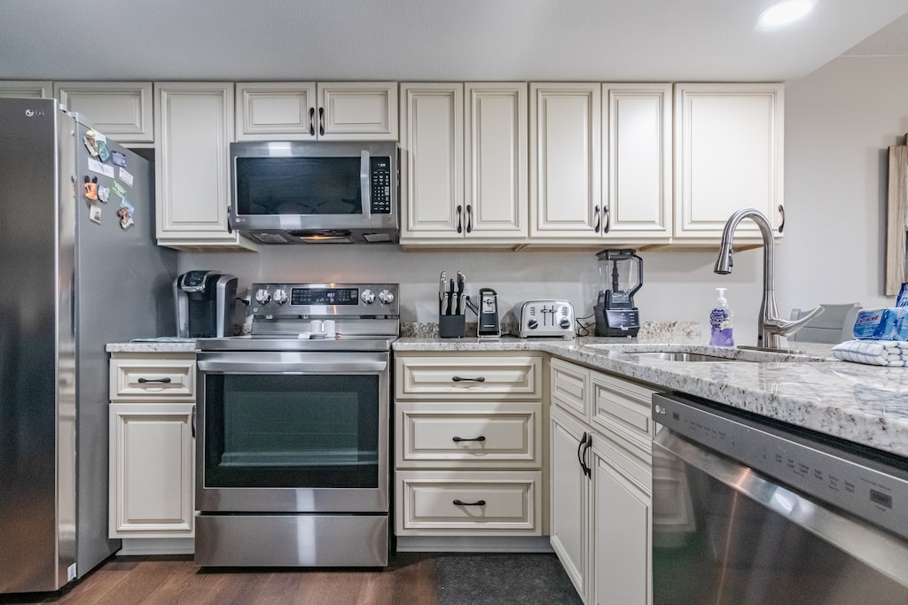 Fully stocked kitchen makes meal prep a breeze.