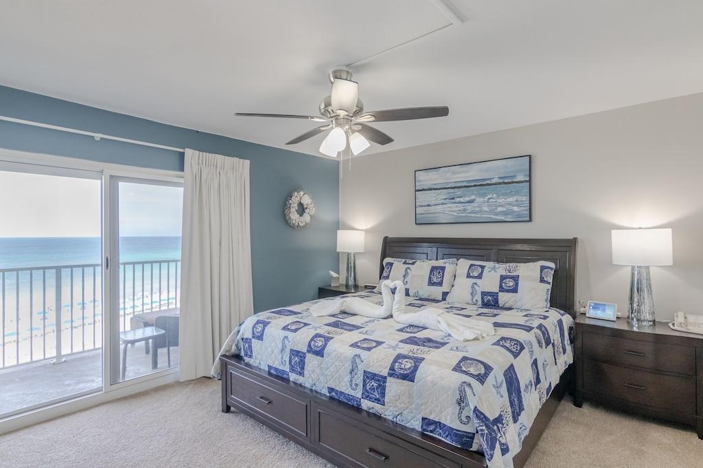 Master Bedroom offers a King Bed, tv & private en suite bathroom.