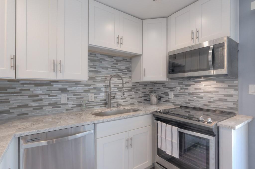 White Kitchen with Cambria Quartz Counter-Tops