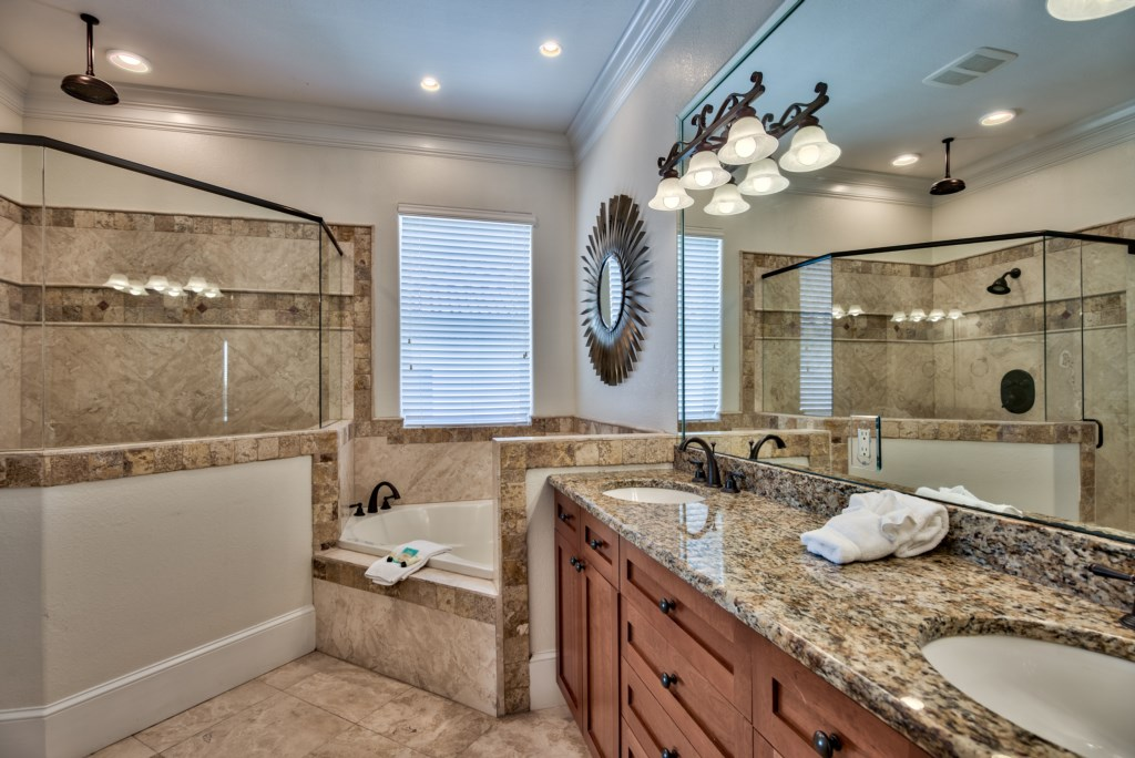 Beautiful Bathroom with soaking tube and walk-in shower
