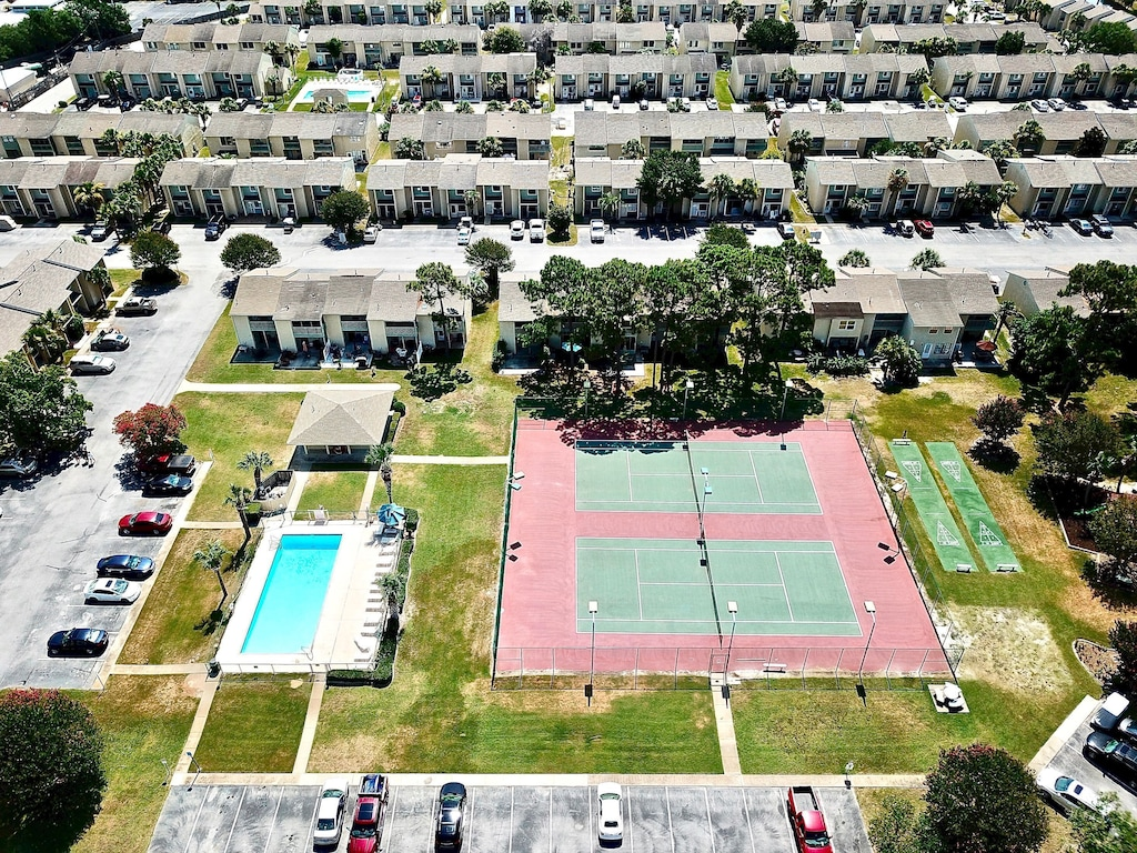 Arial view of tennis courts & one of the pools