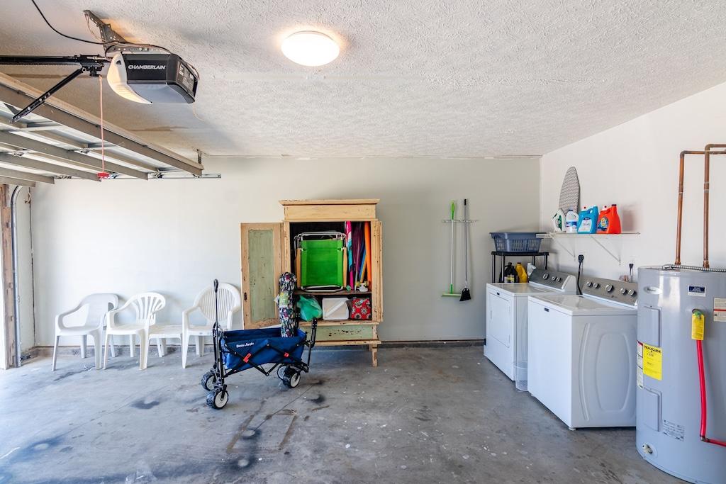 Laundry Area in Garage & Beach Equipment