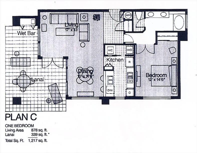 Floor Plan / Large Lanai with dining furniture, reclining lounge chairs.