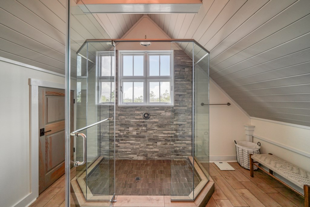 Stunning water views form the large rainfall shower