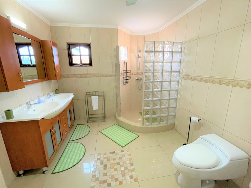 Confortable bathroom with hair dryer, hot water