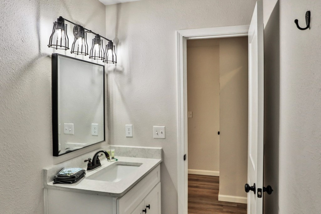 Detached guest bath with walk-in shower
