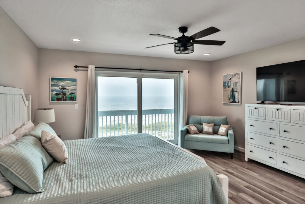 complete with private balcony access, closet access, ceiling fan, and flat screen television