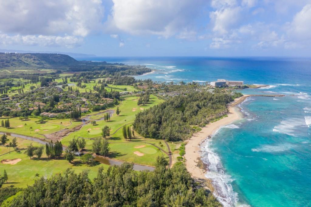 Aerial Shot Looking Towards Turtle Bay Resort