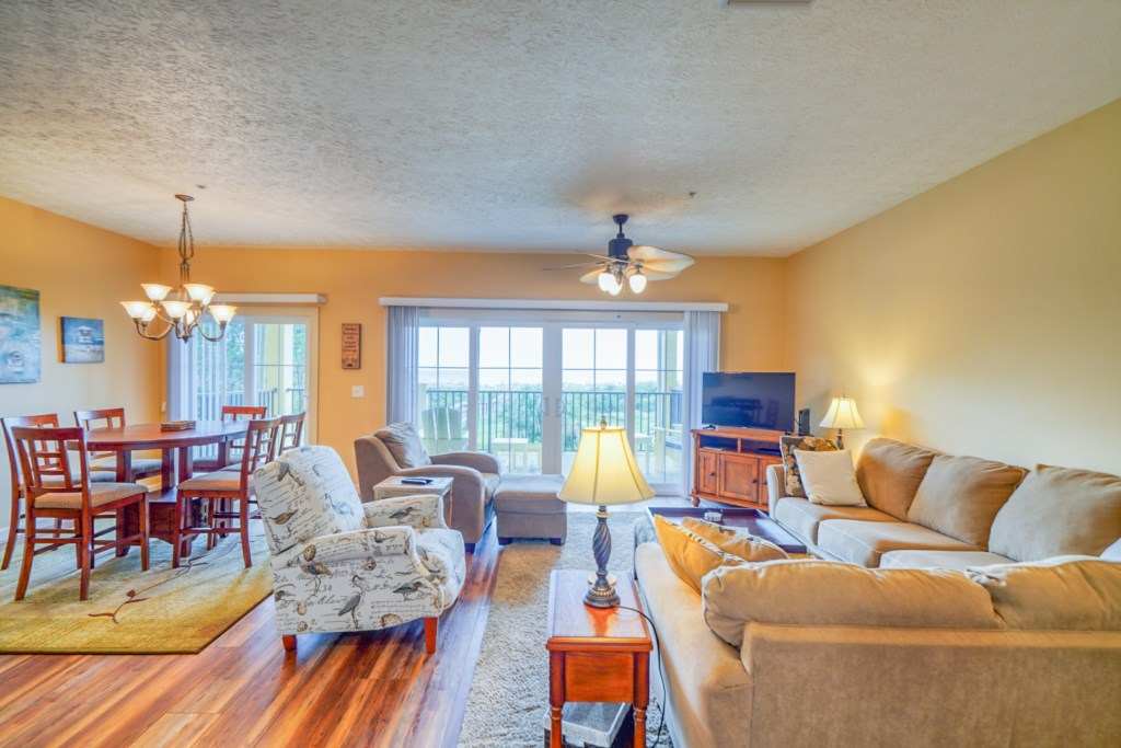 Large living room with beautiful hardwood floors