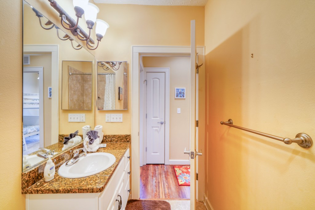 Guest bath; all bed and bath linens are provided