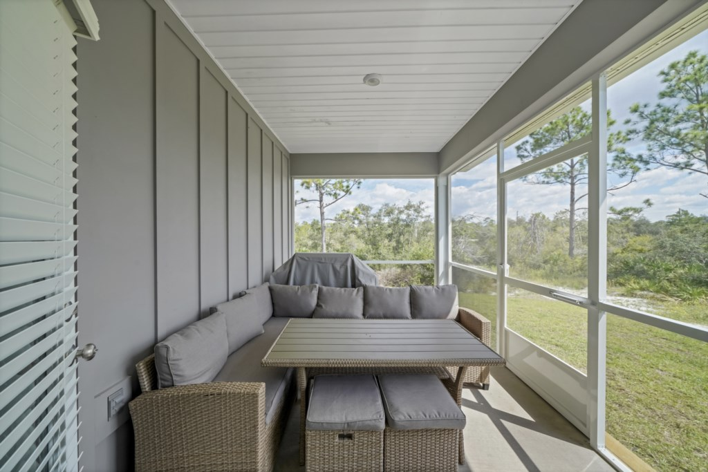 Opt for alfresco dining options on the screened lanai; complete with propane grill