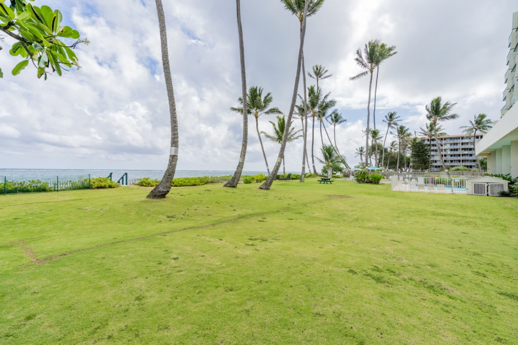 Grassy Area Between Property and Beachfront