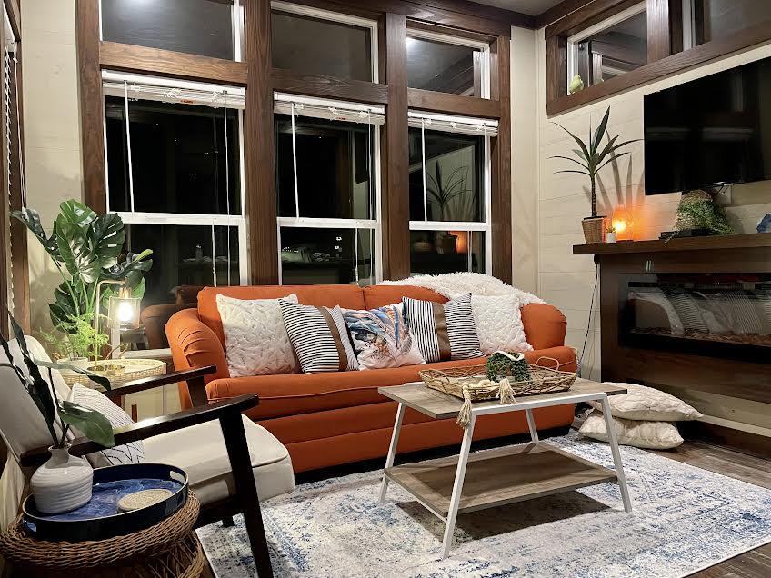 Living area with queen sleeper sofa