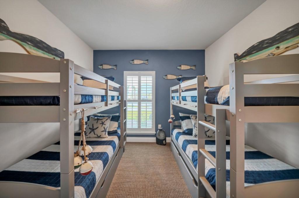 Offering two sets of bunks beds with 4 twin beds (weight capacity of top bunk not to exceed 125lb)