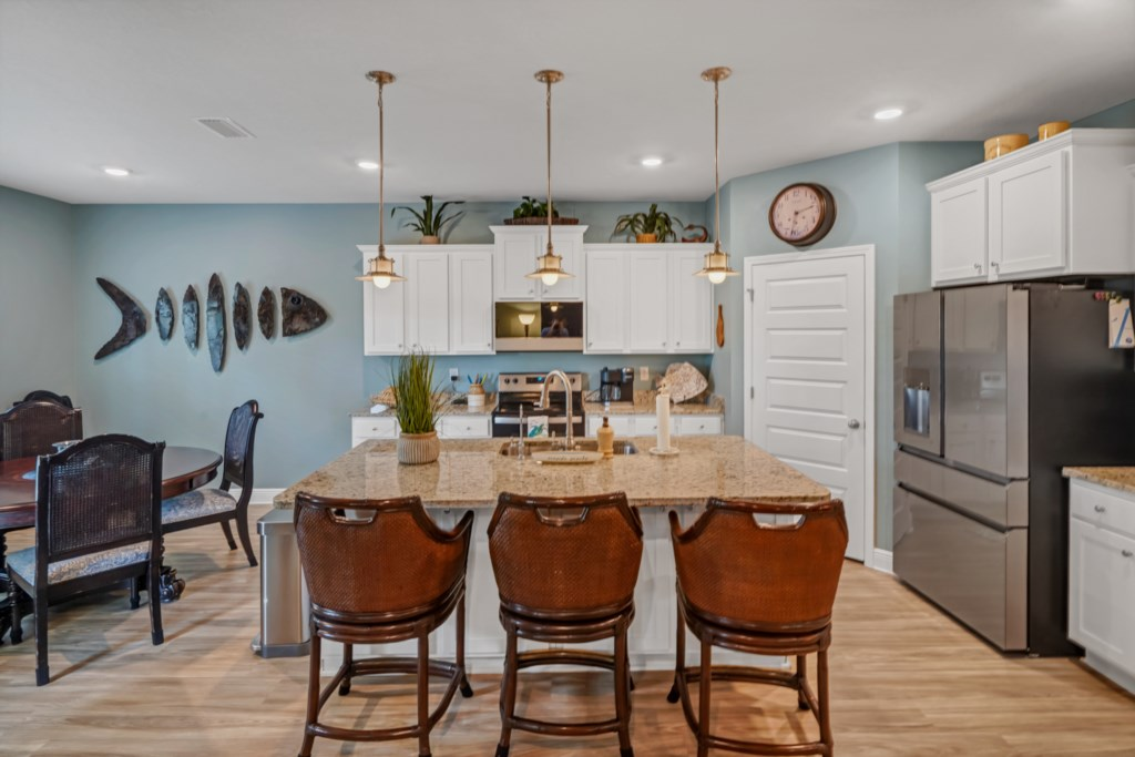 The kitchen inventory will WOW; fully stocked with dishes, utensils, and more