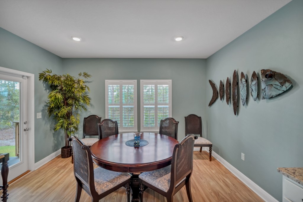 Comfortable seating with serene views in the dining area
