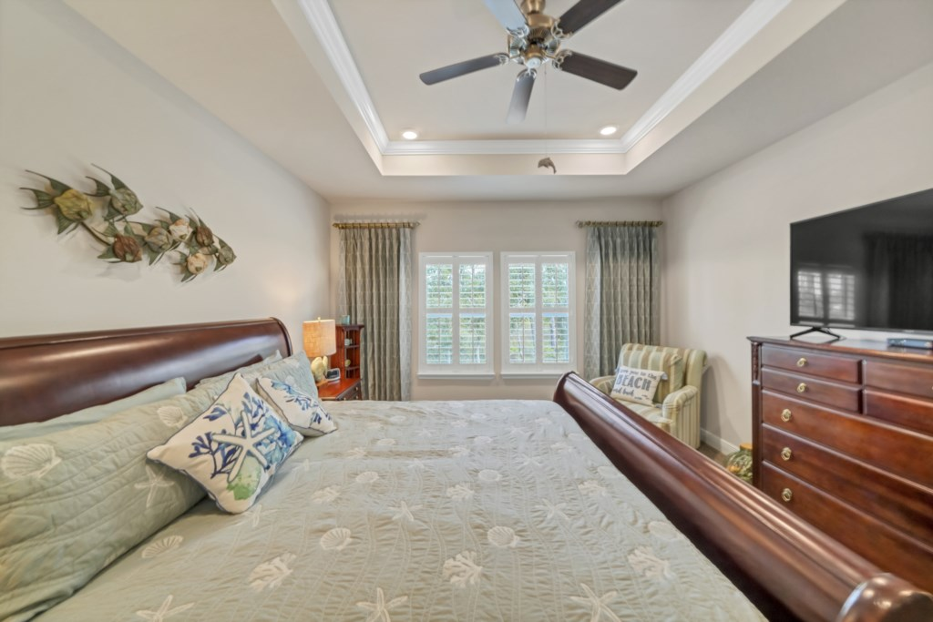 The primary bedroom provides exceptional privacy