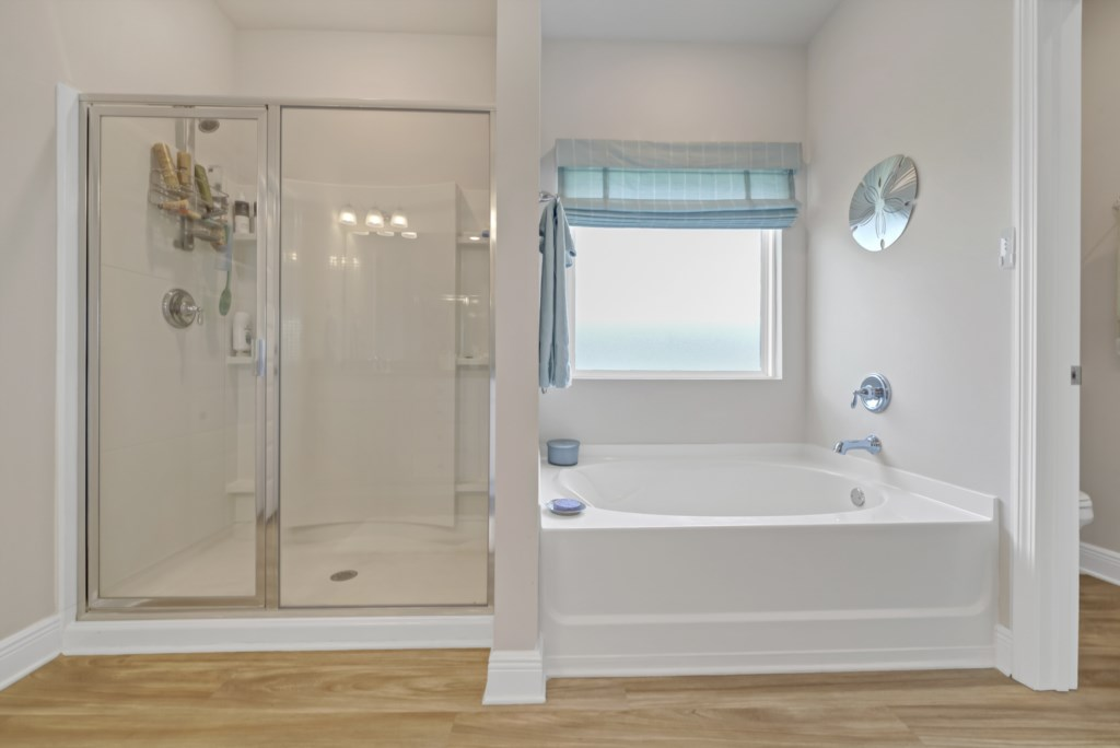 Luxurious primary bath with large soaking tub and walk-in shower